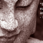 "Buddha statue with inspirational quote, ""be like a child - ready each moment to wonder and accept miracles."" -Mother Meera"