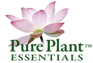 PurePlant Essentials organic essential oils logo pink lotus blossom symbol of purity and transformation