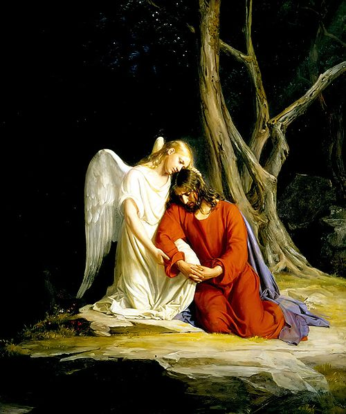 500px Gethsemane Carl Bloch angel comforting jesus wiki public domain Solstice Healing Light Meditation with Archangel Raphael
