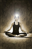 Girl seated full lotus pose in sepia tones with white light around her body and ball of light at crown of her head