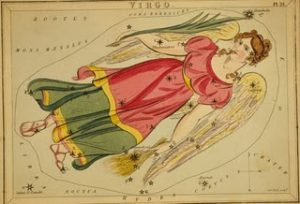 old illustrated map of the constellation virgo