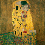 a photo of a painting The Lovers by Gustav Klimt